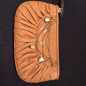 Juicy leather charm wristlet